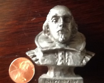 Miniature Pewter portrait bust of William Shakespeare, 1990 by AVA