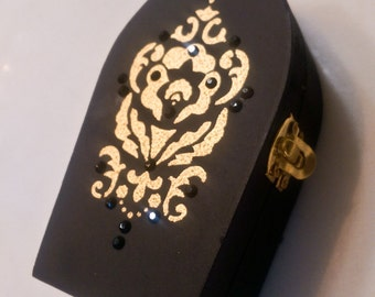 Black Coffin Box \\ Gold Victorian Design \\ Black Rhinestones \\ Halloween Decor \\ Keepsake and Jewelry Box