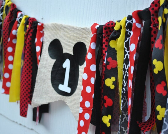 MICKEY MOUSE HIGHCHAIR Banner, birthday garland, photo prop, cake smash banner, red black yellow burlap fabric garland, first birthday
