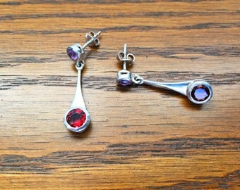 Garnet and Amethyst Drip Drop Earrings