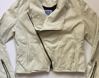 Vintage Leather biker jacket 80's motorcycle jacket cream off white Medium