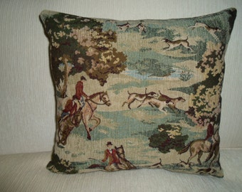 designer TAPESTRY equestrian pillow horse & rider with hunting dogs