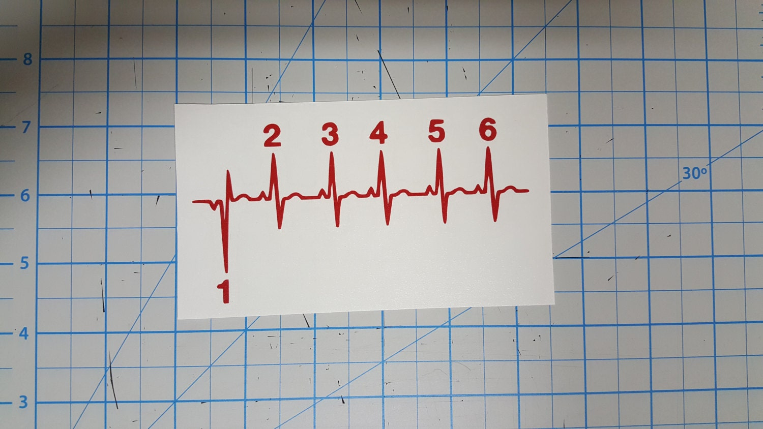 motorcycle streetbike heartbeat pulse shift 1 down 5 up decal