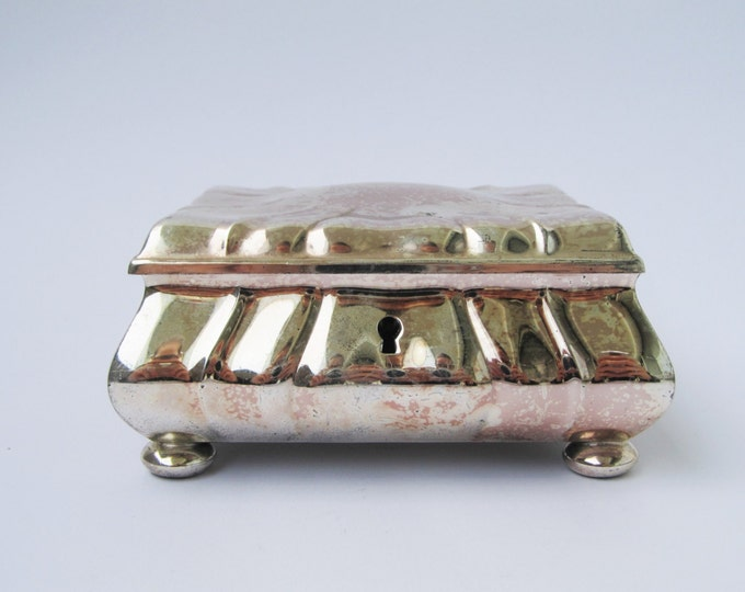 WMF jewellery box, vintage trinket box, silver coloured dressing table box, art nouveau / arts and crafts small desktop casket
