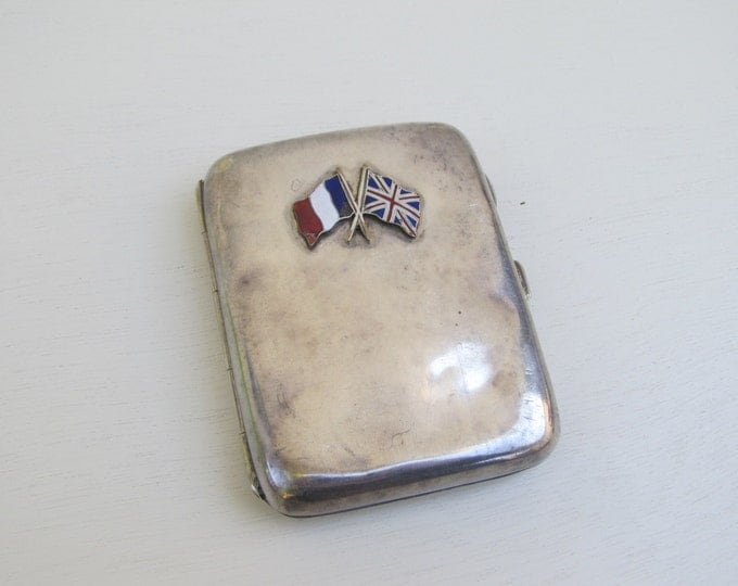 Vintage cigarette case, silver plated card case, epns smoking box, enamel French / British flag, entente cordiale, WWI victory commemoration