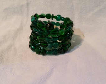 Green Various Sized Glass Beads Memory Wire Wrap Bracelet