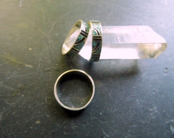 Ring, Sterling Silver,  Marquetry, inlay, green, black, silver, enamel, Present, sizes 6.5 & 7.5 available