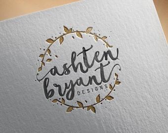 Watercolor Logo Design, gold circle logo, Pre-Made Logo Design, Circle logo, stamp, Photography Logo, watermark