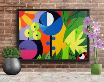Flowers Print - PRINTABLE ART, digital art, wall art, art prints, acrylic on canvas, pop art, abstract artwork, colorful, green, yellow