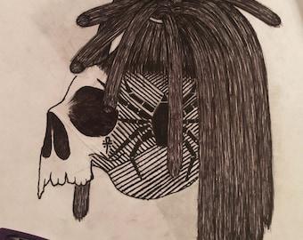 Skull with dreads framed custom art