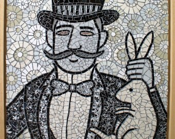 The magician. Mosaic of magician who has conjured a rabbit out of his hat.