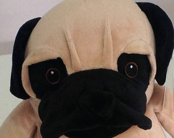 Pug,personalised gift,pug lover,soft toy,squishy face,curly pug tail,baby child,birthday,gift for her,gift new baby,graduation, birth,puppy