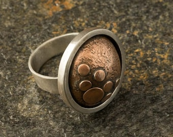 BLUE MOON Sterling Silver and Copper Ring, silver, silver jewelry, rings, silver ring, silver rings, sterling silver,copper, artisan jewelry