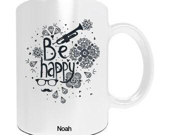 """Personalized gift for Christmas - Mug to be """"Be happy"""" - personalized gift - birthday - Christmas gift idea original Christmas"""