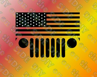 SVG Cut File JEEP Flag Stars and Stripes Grille Instant Download
