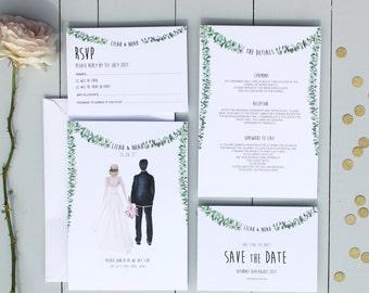Illustrated Couple Wedding Invite, Rustic Watercolour Wedding Invites, Personalised Couple Portrait Wedding Invitation Suite