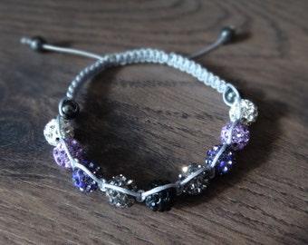 Purple Ombre Gradient Disco Ball Macrame Adjustable Bracelet with 8mm Clear, Purple, Gray, Black Discoballs,Thin Gray Macrame Cord Handmade