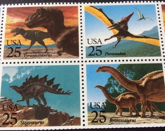 10 Unused 1989 Dinosaur Vintage US Stamps