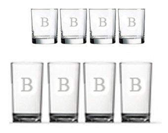 Set of 8 Monogrammed Glasses, Engraved Acrylic