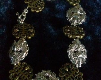 Silver Dragons and Bronze Good Luck Knots Metal Bracelet   8 inches (L)