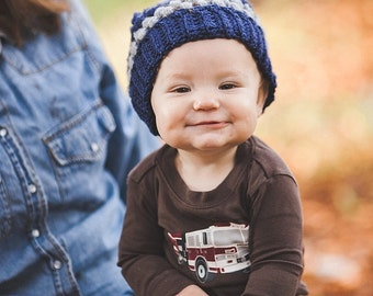 Puff Stitch Beanie--Toddler--Navy and Gray