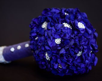 Royal Blue Satin Wedding Bridal Bouquet