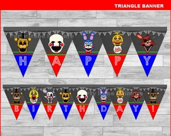 Five nights at freddy's triangle Banner Instant download, Five nights at freddys Chalkboard Banner, FNaF banner