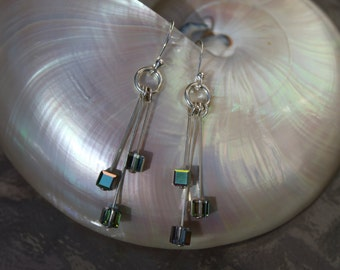 Sterling silver 3 dangle earrings with cube swarovski crystal multi color