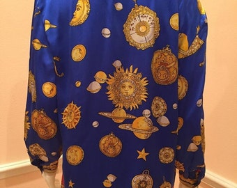C.B. Studio sun moon stars navy red silk charmeuse novelty print blouse medium top