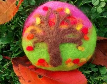 Autumn tree felted stone