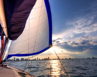 Sailing in Lake Michigan, Chicago, Illinois - Instant Hi-Res Download