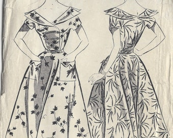 1950s Vintage Sewing Pattern B38 DRESS (1078)  Le Roy 2053