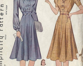 "1940 Vintage Sewing Pattern B33"" DRESS-SKIRT & BLOUSE (27) Simplicity 3320"
