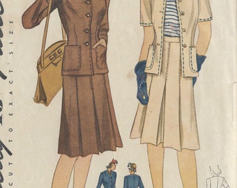 "1940s Vintage Sewing Pattern B32"" TWO-PIECE SUIT (R478) Simplicity 4289"