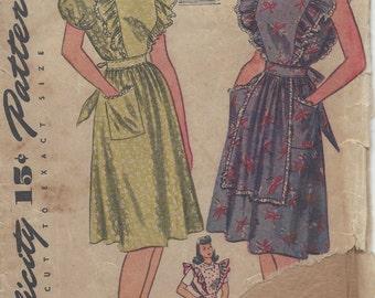 1942 WW2 Vintage Sewing Pattern B32 DRESS-PINAFORE-APRON (1128) Simplicity 4632