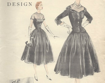 "1954 Vintage VOGUE Sewing Pattern B34"" DRESS & JACKET (R368)   Vogue 832"