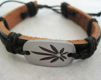 Canibus Leaf Leather Hemp Bracelet Cuff