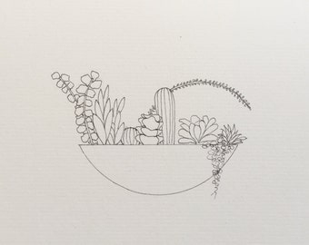 Original Pen + Ink Potted Succulents Drawing + Card // 10x16cm