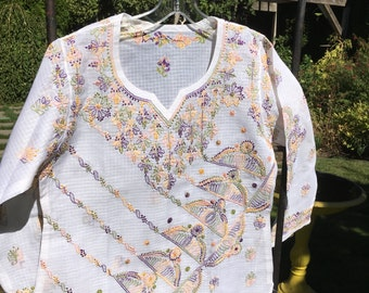 Dazzling hand sewn Chikan embroidery on a crisp white BLOUSE