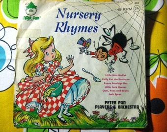 Vintage Peter Pan Records, Nursery Rhymes, 45 RPM, 1960's, Peter Pan Players & Orchestra