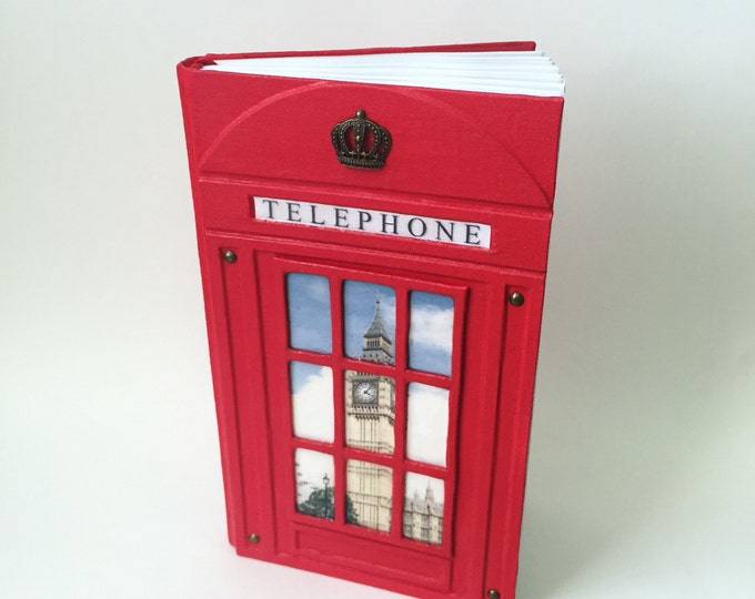 Red British Telephone Box notebook London style datebook red telephone booth exclusive Big Ben Britain handmade gift for her personalized