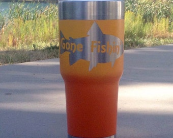 Gone Fishin' Tumbler- Trout Tumbler- Sunset Ombré Tumbler- Yellow and Orange Tumbler- Fishing Cup- Coffee Cup- Cold Drink cup