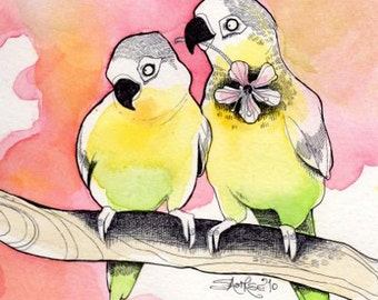 Lovebirds print, parrots, 'Love at first flight' valentines day, art print, illustration, home decor