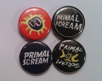 "4 x Primal Scream 1"" Pin Button Badges ( glasgow rock music )"