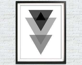 Geometric Wall Art, Minimalist Wall Art, Triangle Print, Black And White Print, Abstract Wall Art, Modern Wall Art, Printable Poster, DIY