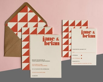 Playful Geometric Wedding Invitation