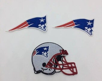 New England Patriots Embroidered Iron On Patch - Set 3 PCS.