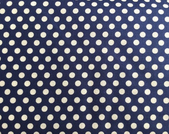 Navy Blue Dot Fabric - Michael Miller Navy Kiss Dot Fabric - Blue and White Polka Dot Material