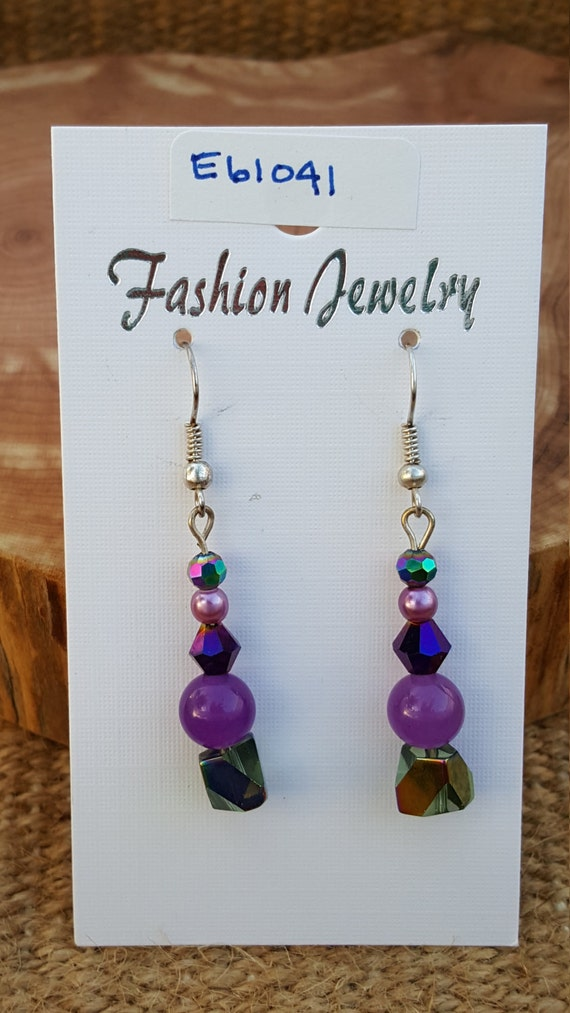 Purple Pearl Sparkle Earrings / Purple Stone Earrings / Purple Sparkle Earrings / Dangle Earrings / Hippie Earrings / Boho Jewelry /E61041