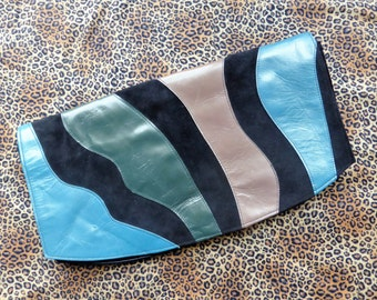 Vintage 1980s Leather & Suede Clutch (Large)